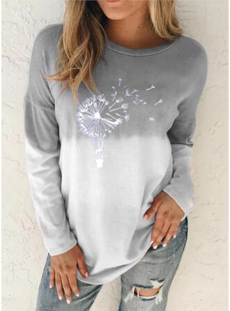 Dandelion Gradient Print Round Neck Long Sleeves T-shirts