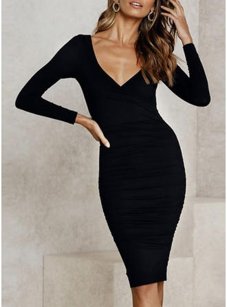 Solid Long Sleeves Bodycon Little Black/Casual/Elegant Midi Dresses