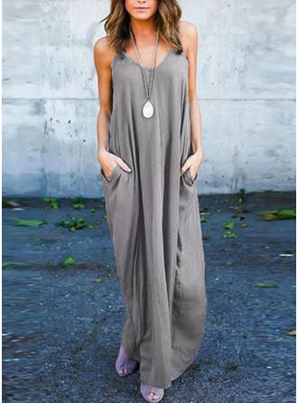 Solid Sleeveless Shift Casual/Vacation Maxi Dresses