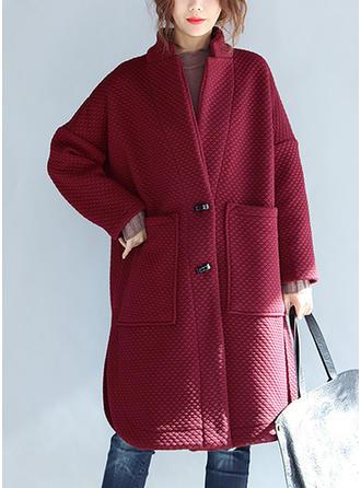 Mieszanki bawełniane Akryl Długie rękawy Jednolity kolor Szerokie Płaszcze