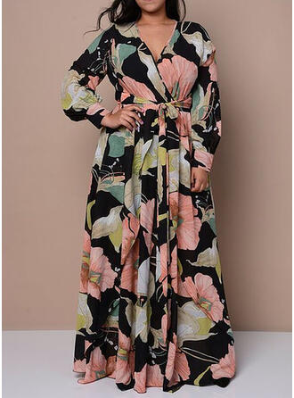 Plus Size Print Long Sleeves A-line Maxi Casual Dress
