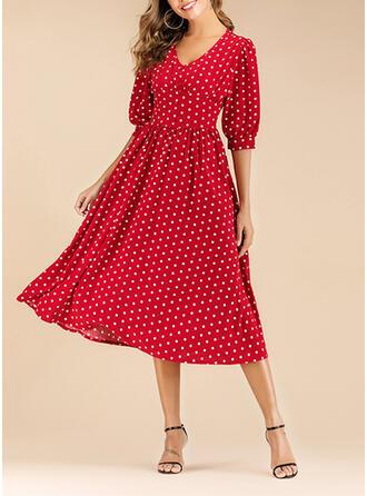 PolkaDot 3/4 Sleeves A-line Casual/Vacation Midi Dresses