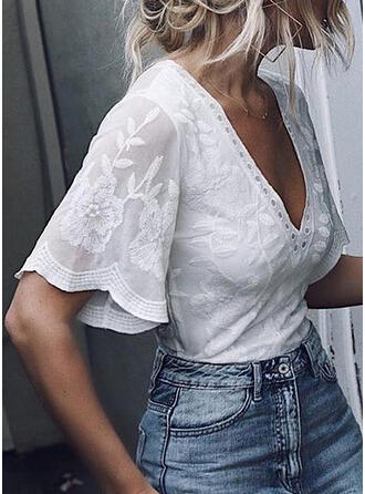Solid Floral V-Neck Flare Sleeve 1/2 Sleeves Casual Blouses