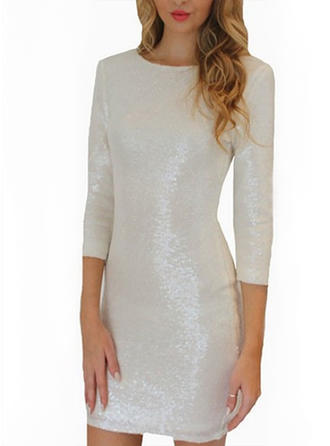 Sequins Solid Round Neck Above Knee Bodycon Dress