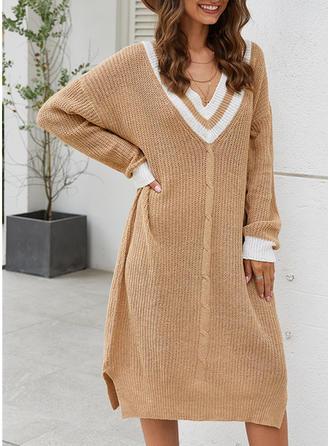 Bloque de Color Escote en V Vestido de Suéter