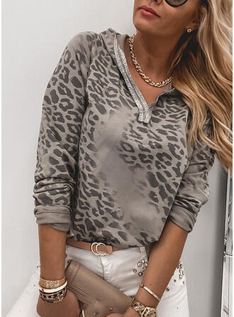 Nyomtatás Leopard Dlouhé rukávy Kapuce