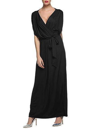 Short Sleeves A-line Maxi Casual Dresses