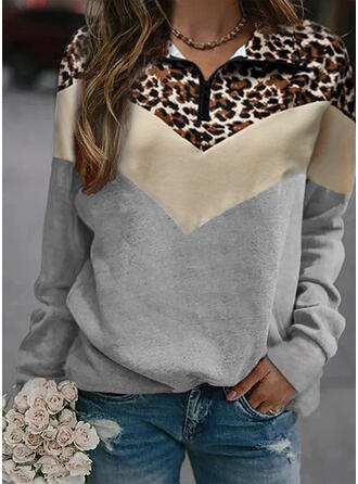 Color Block Leopard Lapel Lange ærmer Sweatshirts