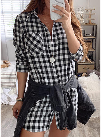 Plaid 3/4 Sleeves Shift Above Knee Casual Dresses