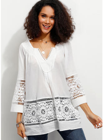 Solid Lace V Neck 3/4 Sleeves Casual Elegant Blouses