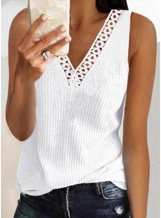 Jednolity Koronka Dekolt w kształcie litery V Bez Rękawów Koszulki bez rękawów