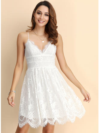 Lace/Solid Sleeveless A-line Above Knee Sexy/Boho Dresses