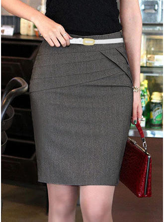 Polyester Plain Above Knee Pencil Skirts