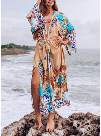 Floral Print V-Neck Beautiful Bohemian Classic Cover-ups Swimsuits