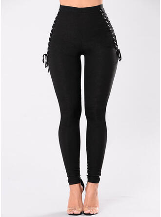 Solid Long Long Skinny Solid Pants