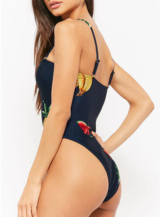 Floral Strap U Neck Sexy Bohemian Fresh One-piece Swimsuits