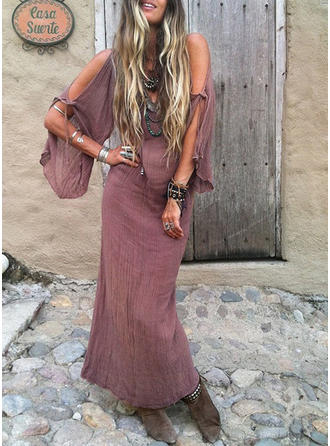 Solid Long Sleeves Shift Maxi Casual/Vacation Dresses