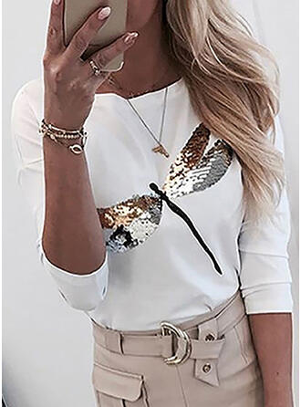 Sequins Round Neck Long Sleeves Casual Knit T-shirt