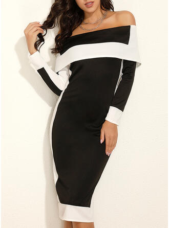 Color Block Long Sleeves Sheath Party/Elegant Midi Dresses