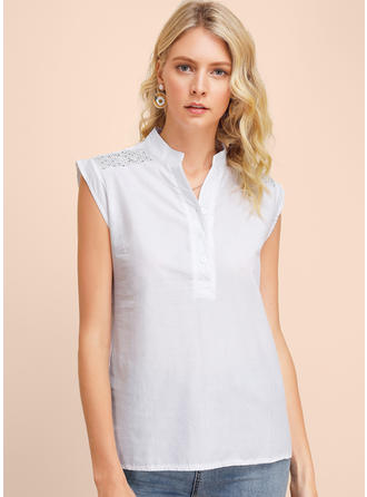 Solid Sequins V-neck Sleeveless Button Up Casual Tank Tops