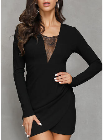 Lace/Solid Long Sleeves Sheath Above Knee Little Black/Elegant Dresses