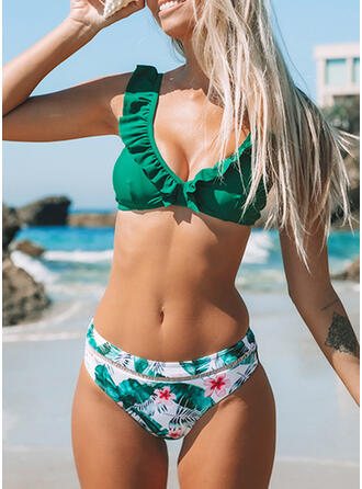 Print Strap V-Neck Sexy Fresh Bikinis Swimsuits