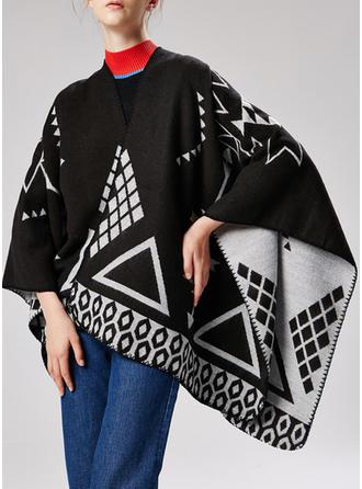 Geometric Print Oversized/Cold weather Wraps