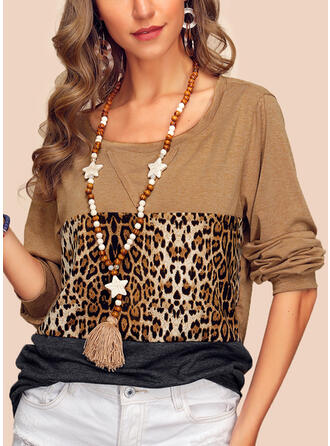 Color block Leopard Rund hals Lange ærmer Casual T-shirts