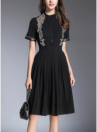Solid Stand collar Knee Length A-line Dress