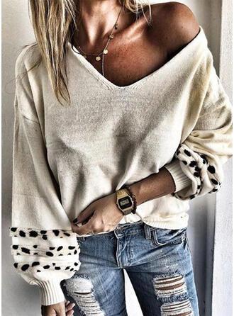 Leopardo Cuello en V Casuales Suéteres