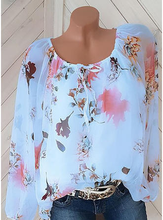 Print Round Neck Long Sleeves Casual Elegant Blouses
