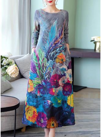 Wydrukować Okrągły Dekolt Maxi Sukienkę przesunąć