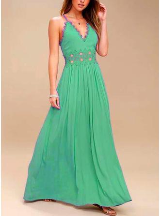 Jednolita Bez rękawów W kształcie litery A Maxi Przyjęcie Sukienki