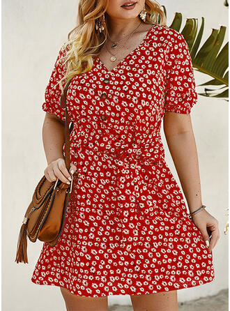 Print/Floral Short Sleeves A-line Above Knee Casual/Vacation/Plus Size Dresses