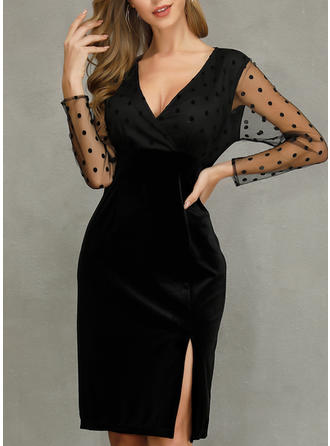 Solid Long Sleeves Sheath Knee Length Little Black/Party/Elegant Dresses