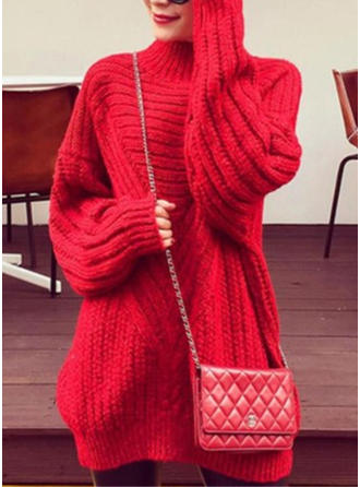 Akryl Golf Jednolity kolor masywna dzianina Sukienka sweterkowa