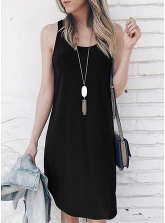 Solid Sleeveless Shift Knee Length Little Black/Casual Dresses