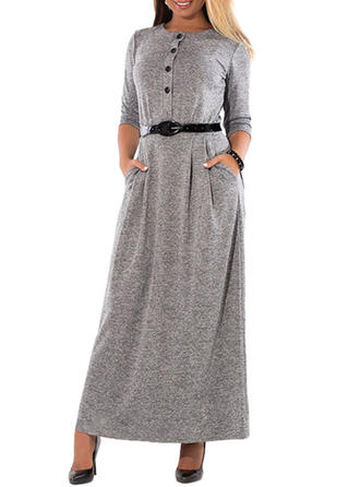 Solid Long Sleeves Shift Maxi Sweater Dresses