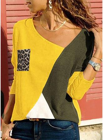 Color Block Animal Print V-Neck Long Sleeves Casual T-shirts