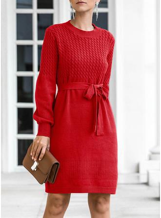 Frauen Polyester Einfarbig Kabelstrick Grobstrick Pullover Kleid