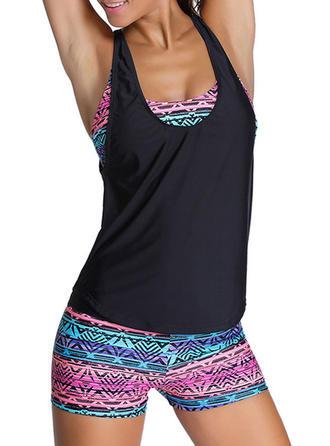 Colorful U Neck Tankini Swimsuit