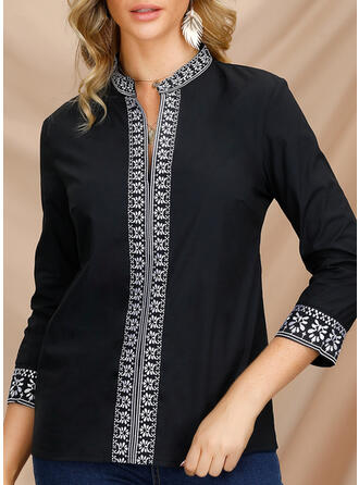 Solido Scollatura a V Maniche lunghe Casuale Shirt and Blouses