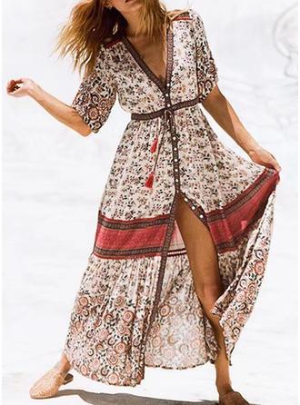 Print Floral V-neck Maxi A-line Dress