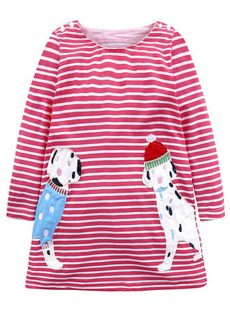 Girls Round Neck Striped Animal Casual Cute Dress