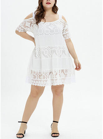 Lace/Solid 1/2 Sleeves/Cold Shoulder Sleeve A-line Knee Length Vacation/Plus Size Dresses