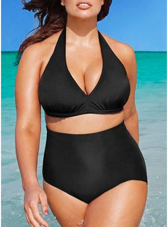 Solid Color Halter Plus Size Bikinis Swimsuits
