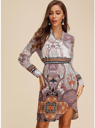 Print Long Sleeves Sheath Knee Length Casual/Boho/Vacation Dresses