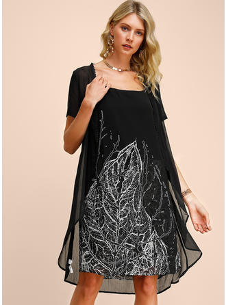 Print Short Sleeves Shift Knee Length Casual/Elegant Dresses