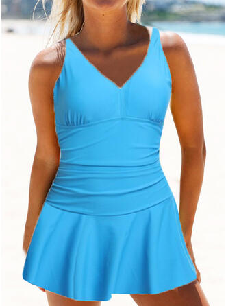 Solid Color High Waist Ruffles Sexy Vintage Plus Size Swimdresses Swimsuits
