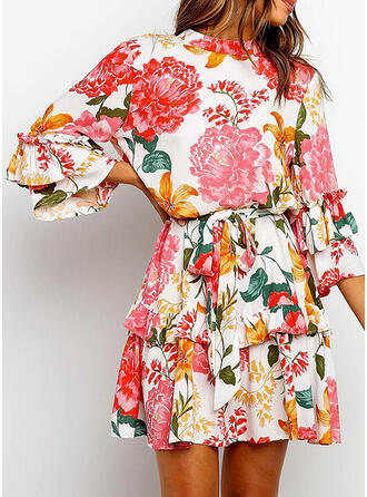 Print/Floral 3/4 Sleeves/Flare Sleeves A-line Above Knee Casual/Elegant Dresses